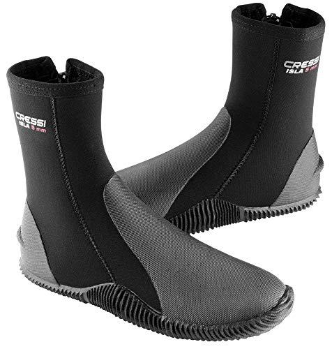 Cressi Isla Boots - Premium Neopren Füßling Für Geräteflosse - Sohle Anti-rutsch, Schwarz/Logo Rot, L - 42/43