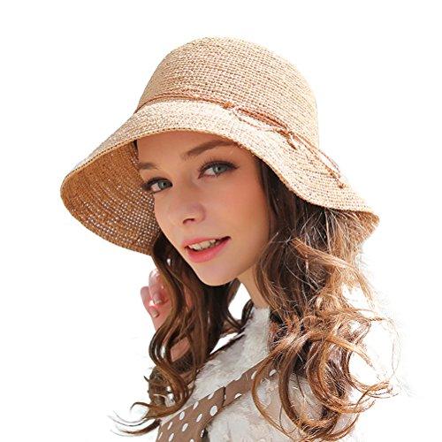 RIONA Damen Sommer Handgewebte Faltbare Wide Brim Fischer 100% Bast Straw Sonnenhut