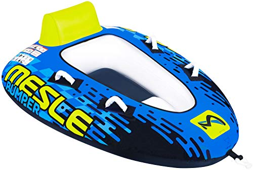 MESLE Tube Bumper Demo, Towable für 1 bis 2 Personen, Inflatable Fun-Tube Multi-Rider Cockpit-Tube, 183 x 137 cm, blau-Lime-weiß, Kinder Erwachsene, aufblasbar ziehbar, Boot Jet-Ski Yacht