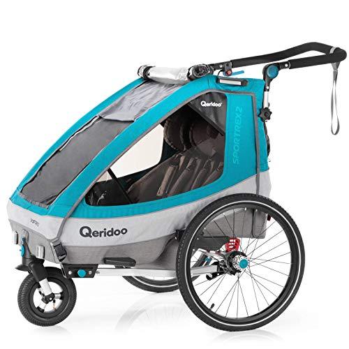Qeridoo Sportrex 2 (2020) Fahrradanhänger 2 Kinder, einstellbare Federung - Petrol
