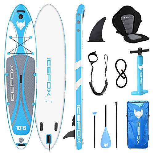 Icefox Stand Up Paddling Board, aufblasbares SUP Board, Stand Up Paddle Board Set, 6 Zoll dick für alle Schwierigkeitsgrade mit Aluminiumpaddel, Kajaksitz und komplettem Zubehör (200KG MAX)