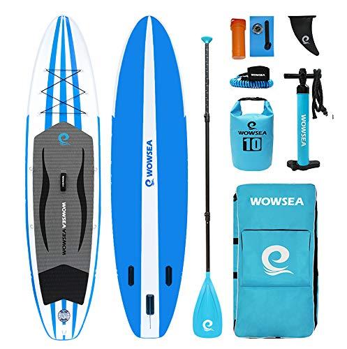 WOWSEA Cruise Aufblasbares Stand Up Paddle Board | 335cm L x 81.5cm W x 15cm H | Langlebiges und Stabiles Familienzeit SUP Board | Freizeit & Touren iSUP | Blau