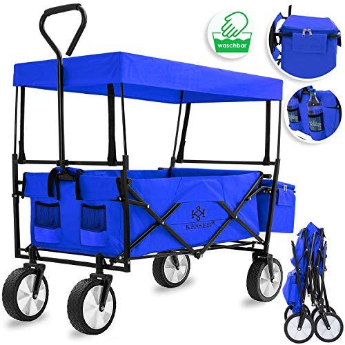 KESSER Bollerwagen faltbar mit Dach Handwagen Transportkarre Gerätewagen | inkl. 2 Netztaschen und Einer Außentasche | klappbar | Vollgummi-Reifen | bis 100 kg Tragkraft | (Blau)