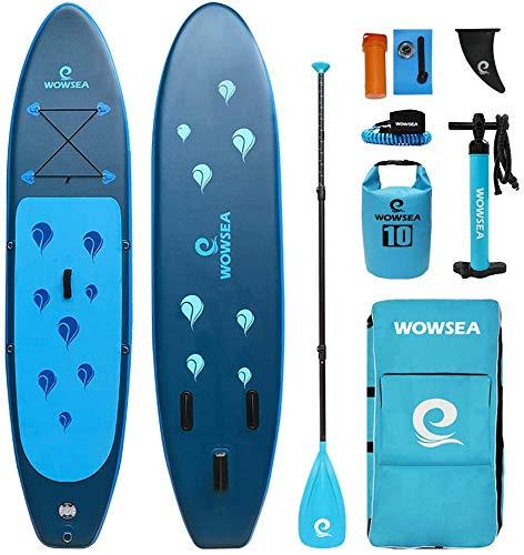 WOWSEA Waterdrop Aufblasbares Stand Up Paddle Board | 305cm L x 80cm W x 15cm H |Langlebiges und Stabiles Freizeit Paddel SUP| Touren & Yoga iSUP | Blau