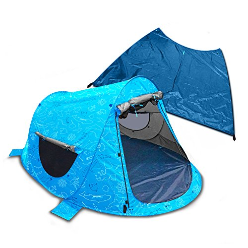 outdoorer Strandmuschel Zack Premium Baby, Kind und Meer Edition - Wurfmuschel verschließbar, UV80, Boden abnehmbar