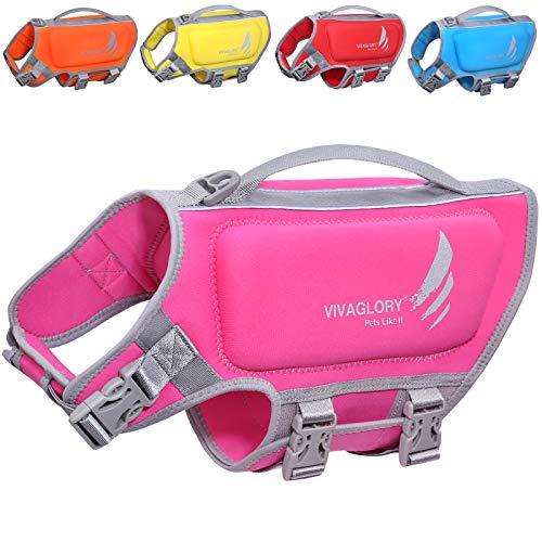 VIVAGLORY Hundeschwimmweste aus Neopren, Größenverstellbar mit Starkem Auftrieb und Rettungsgriff, Pink, Größe M