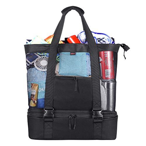 KUYOU 35 L Strandtasche Badetasche Einkaufstasche Picknicktasche XXL mit Wasserdichter Kühlfach 51 * 41 * 18 cm, ÜbergroßeTaschen Mesh Reißverschluss Schultertasche für Strand Urlaub Reise Picknick