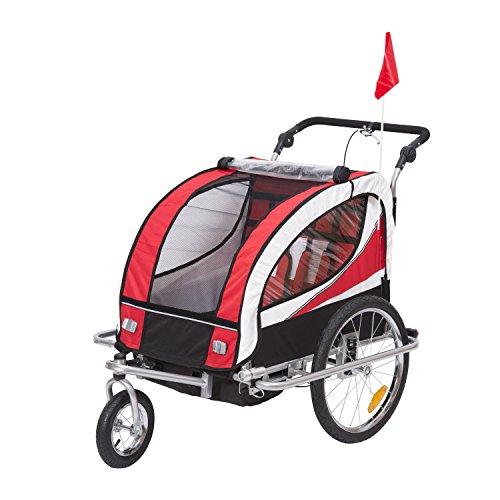 HOMCOM Kinderanhänger 2 in 1 Anhänger Fahrradanhänger Jogger 360° Drehbar für 2 Kinder rot-schwarz