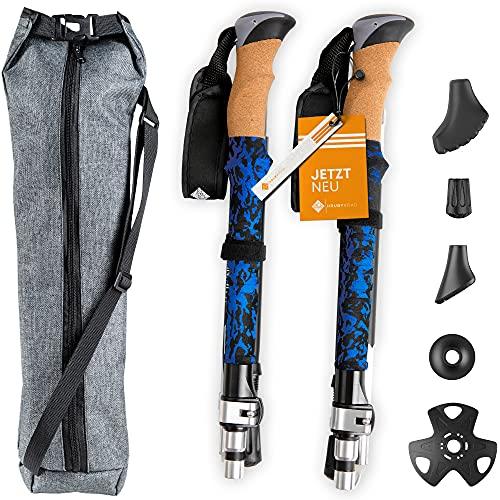 HrubyRoad® Nordic Walking Stöcke [Ultra STABIL] im Set mit 5 Aufsätzen & passender Tasche | 100% Zuverlässig & Sicher | Teleskop Wanderstöcke für jedes Terrain | Verstellbar & Faltbar