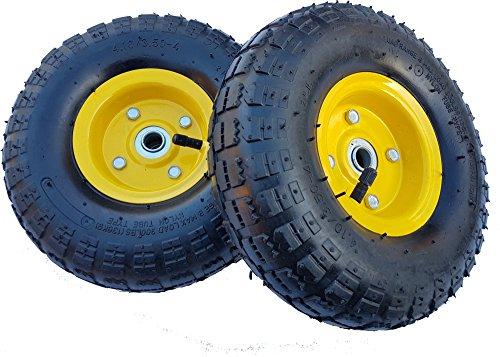 2 x Frosal Luftrad Bollerwagen Ø 260 mm 4.10/3.50-4 | Ersatzrad Reifen Sackkarre | Achse 16 mm | Rad mit Kugellager | Stahlfelge Gelb
