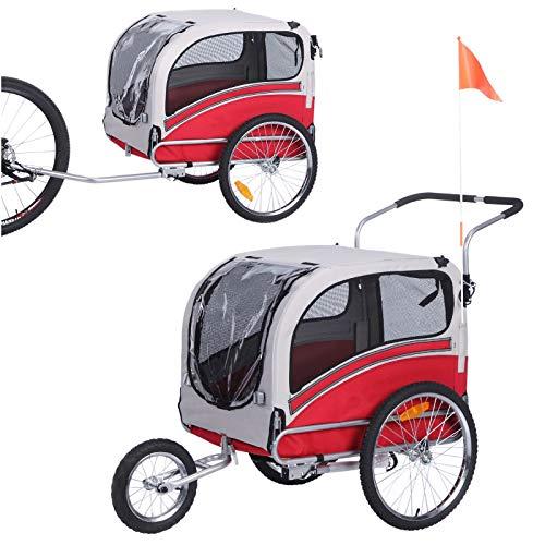 LEONPETS Haustier XXL transportwagen für Jogger und Fahrrad 20303L(Rot-Grau)