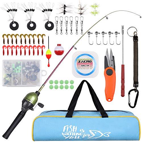 Zacro Angel Set für Kinder, Angelrute Fishing Rod 59 Teiliges Set-mit Tragbare Teleskop Forellenfarbe Angelrute und Angelrolle komplettes Set