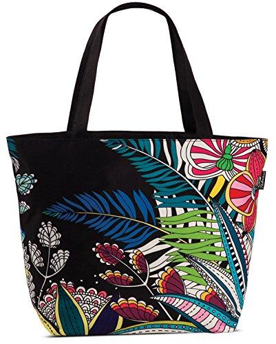 Shopper Tragetasche mit viel Stauraum Strandtasche Umhängetasche Stoff Tasche floral schwarz-bunt