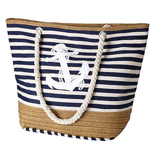 flintronic Große Strandtasche mit Reißverschluss und Innentasche Wasserdicht Strandtasche, Einkaufstasche Shopper für Damen, Schultertasche Einkaufstasche - Blau