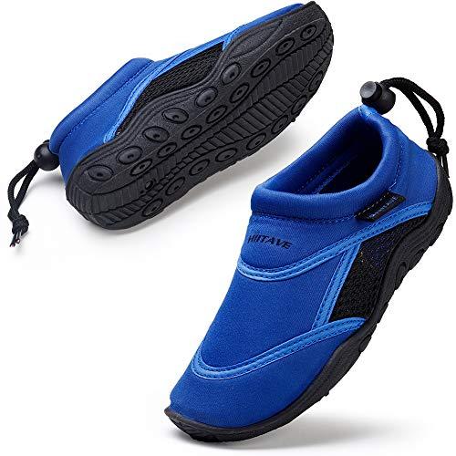 HKR Kinder Badeschuhe Wasserschuhe Barfussschuhe Strandschuhe Surfschuhe für Jungen Schwarz/Blau 34 EU