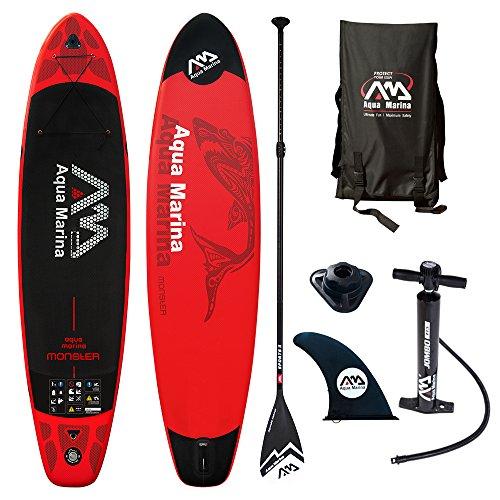Aqua Marina Sport Monster Modell 2018 12.0 iSUP Sup Stand Up Paddle Board II Paddel, Rot schwarz, 365cm x82cm x 15cm