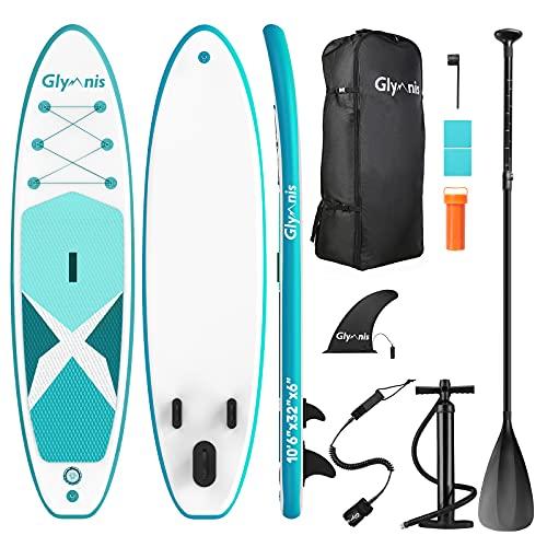 Glymnis SUP Board Stand Up Paddle Board Aufblasbares Stand Up Paddling Board Set 320x80x15cm 6 Zoll Dick mit Aluminiumpaddel Luftpumpe und komplettem Zubehör