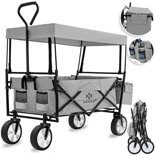 KESSER Bollerwagen faltbar mit Dach Handwagen Transportkarre Gerätewagen | inkl. 2 Netztaschen und Einer Außentasche | klappbar | Vollgummi-Reifen | bis 100 kg Tragkraft | Grau