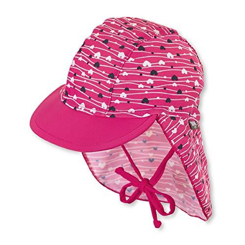 Sterntaler Mädchen Schirmmütze mit Nackenschutz, UV-Schutz 50+, Alter: 5 - 6 Monate, Größe: 43, Farbe: Magenta