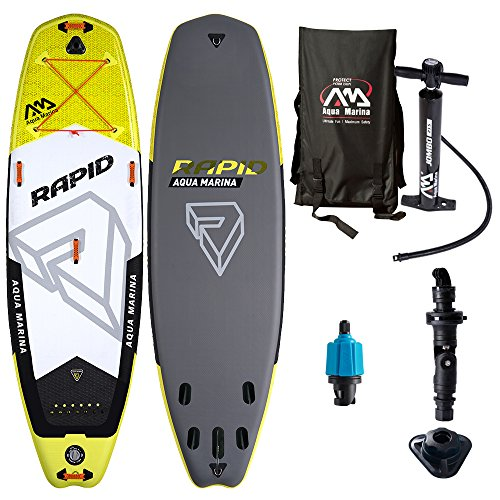 Aqua Marina Sport Rapid 9.6 iSUP Sup Stand Up Paddle Board Wildwasser Flüsse Bäche, Yelow, 289,6cm x84cm x 15cm