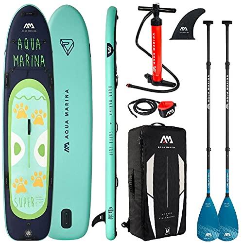Aqua Marina Super Trip Board 2021 mit 2 Stück Carbon Nylon Paddel und Leash
