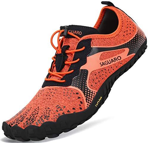Barfussschuhe Frauen Schnell Trocknend Trail Laufschuhe Herren Leicht Fitnessschuhe Damen Barfuß Zehen Sport Outdoor Schuhe Männer Orange Gr.45