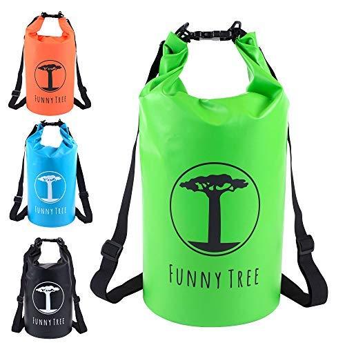 FUNNY TREE® Drybag. (10L grün) Wasserdichter (IPx6), verbesserter DryBag, schwimmfähig. Inklusive wasserdichter Handy-Hülle | Stand Up Paddle | Wassersport | Ski-Fahren | Snow-Boarden | Tauchen