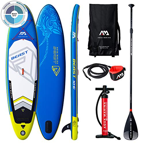 "BEAST Stand Up Paddle Board 10.6"" Blau aufblasbar iSUP im Set, 320 x 81 x 15 cm"