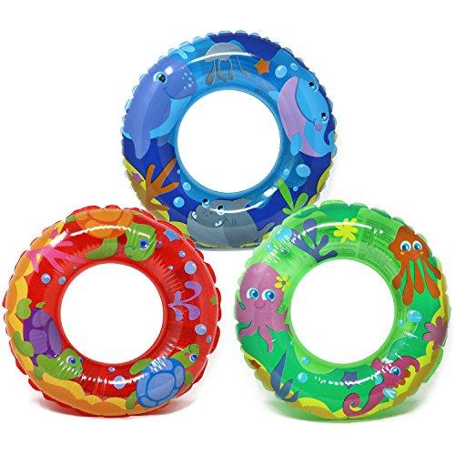 com-four 3X Schwimmreifen - Kleiner Schwimmring für Badespaß - Kinderschwimmreifen mit verschiedenen Tier-Motiven [Auswahl variiert] (003 Stück - Ø 44cm Tiere)