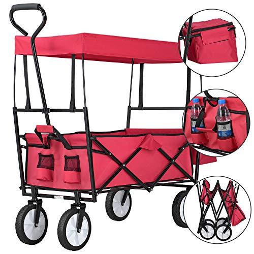 Juskys Bollerwagen faltbar mit Dach und Tasche | Reifen aus Gummi | Stahl-Gestell | bis 80 kg belastbar | Handwagen klappbar | rot