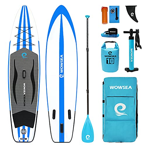 WOWSEA Bluesky S1 Aufblasbares Stand Up Paddle Board, Langlebiges und Stabiles Familienzeit SUP Board, Freizeit & Touren Paddel Board, 335cm L x 81.5cm W x 15cm H mit iSUP Zubehör (Blau)