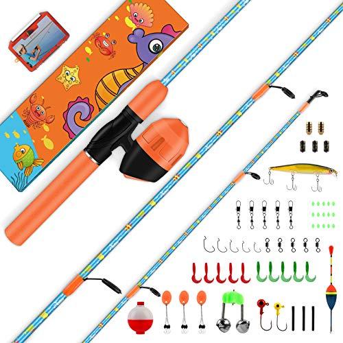 Angelrute für Kinder, einzigartiges Design mit X Warping Lackierung, tragbare Gelenk Angelrute und Angelrolle, Angelset Komplett, bestes Kinderangel Geschenk für Jungen, Mädchen, Jugendliche