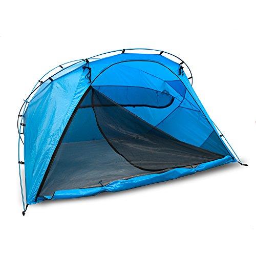 outdoorer Strandmuschel Santorin Family, UV 80, Sonnenschutz Zelt zum Verschließen mit Belüftung und Moskitonetz, sehr groß, leicht Dank Alugestänge, kleines Packmaß für Reisen, wasserdicht