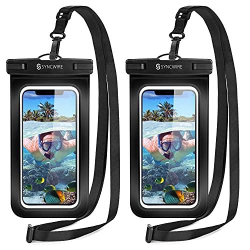 Syncwire wasserdichte Handyhülle Unterwasser Wasserfeste - 2 Stück 7 Zoll DOPPELT VERSIEGELT Wasserdicht Handy Hülle Handytasche für iPhone 13 Pro Max Mini 12 SE 11 XS XR X 8 7 6+ Samsung Huawei etc