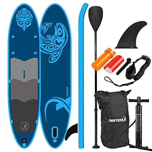 Nemaxx PB330 Stand up Paddle Board 330x76x15cm, blau - SUP, Surfbrett, Surf-Board - aufblasbar & leicht zu transportieren - inkl. Tasche, Paddel, Finne, Luftpumpe, Repair Kit