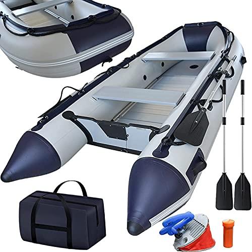 Schlauchboot 3,30 m für 5+1 Personen - 330 x 155 cm, max 566 kg, bis 15 PS, Alupaddel, Aluboden, Fußluftpumpe, Zubehör, PVC - Motorboot, Ruderboot, Paddelboot, Angelboot, Gummiboot, Freizeitboot