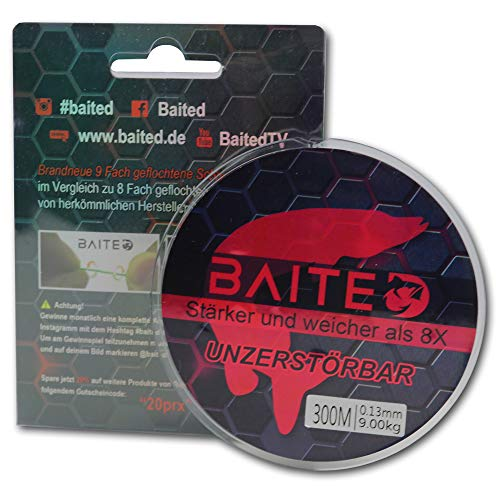 Baited Revolutionary 9-strand braided fishing line - enormous casting distance & abrasion resistance