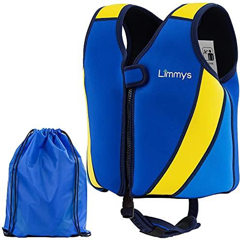 Limmys Premium Neopren Schwimmweste - Ideale Schwimmhilfe für Jungen und Mädchen - Extra Kordelzugtasche inklusive (Klein)
