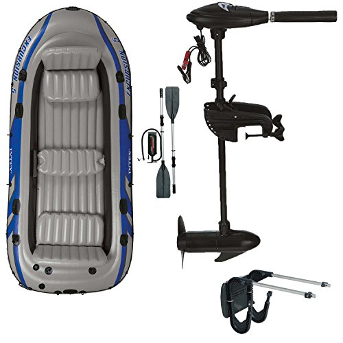 Intex motor boat inflatable boat with outboard motor + transom + paddle, pump set for 5 people complete set