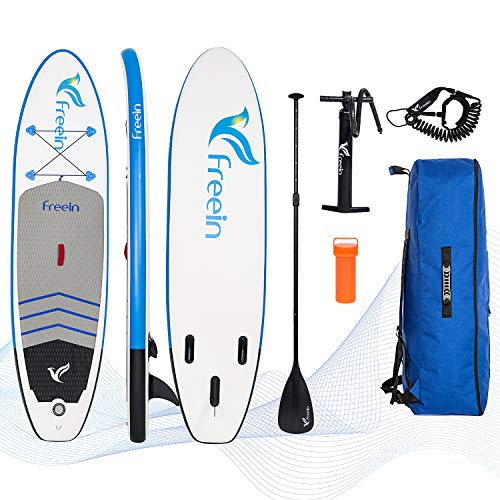 Freein Cruise SUP Board Set | Aufblasbares Stand Up Paddle Board | 10'2'x31'x6' | Aluminium Floating Paddel | Luftpumpe mit Manometer | Rucksack | Gewickelten Leine | 2 Jahre Garantie MEHRWEG