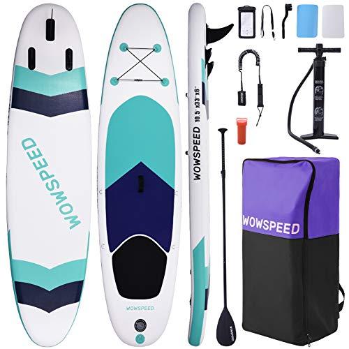 OneV FT Stand Up Paddling Board Aufblasbar 320 * 83 * 15CM, 8.7KG SUP Board Set, Leichtgewicht Surfboard Set, Komplettes ZubehöR Kanu Aufblasbar, Surfbrettset, Pumpe (Mehrfarbige Streifen)