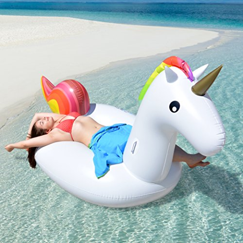 p:os Aufblasbare Einhorn Luftmatratze ca. 270 cm - Super Spaß für Kinder und Erwachsene - lustiges Must-have am Strand und im Schwimmbad