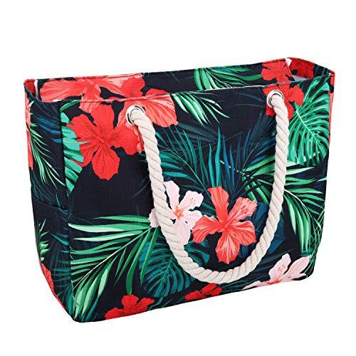 Luxspire wasserdichte Strandtasche, Baumwollseilgriffe, oberer Reißverschluss Zwei Außentaschen Strandtasche - Bunt Blume