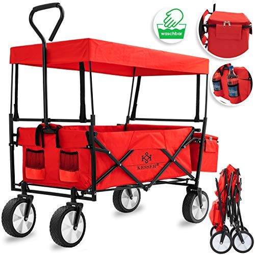 Kesser Bollerwagen faltbar mit Dach Handwagen Transportkarre Gerätewagen | inkl. 2 Netztaschen und Einer Außentasche | klappbar | Vollgummi-Reifen | bis 100 kg Tragkraft | Rot