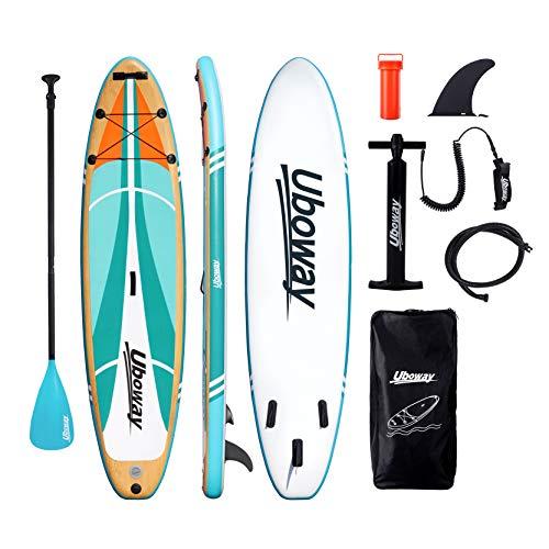 Signstek Stand Up Paddling Board Aufblasbares SUP Board Set Aufblasbar 305 * 80 * 15 cm 200KG Paddle Surfboard Stabiles Leichtgewicht Komplettes Zubehör Paddel Hochdruck-Pumpe Rucksack (Holzmaserung)
