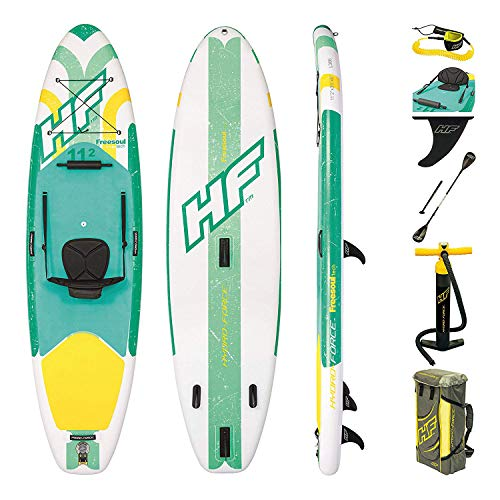 Bestway Hydro-Force SUP Freesoul Tech Stand-up-Paddling Board aufblasbar mit Sitzfunktion, 340x89x15 cm