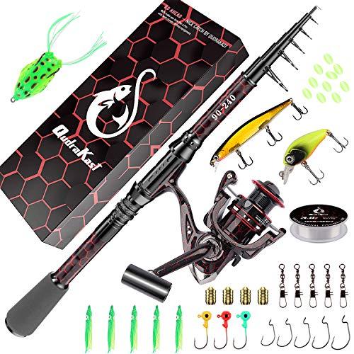 Kombinationen aus Angelrute und Rolle, einzigartiges Design mit X-Warping-Farbe, teleskopierbare Kohlefaser-Angelrute mit kombiniertem Angelruten-Kit mit Box, Angler (210-Red)