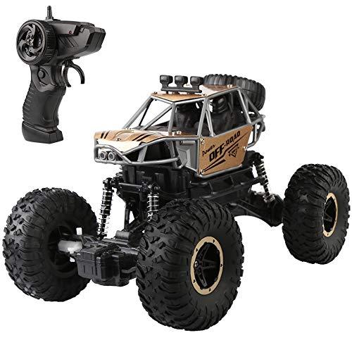 Ferngesteuertes Auto: 1:16 Maßstab RC Auto Funkfernsteuerung Elektro Geländewagen, 2.4 GHz Alles Gelände Buggy Auto Monstertruck Rock Crawler Spielzeug für Kinder Erwachsene (Gold)