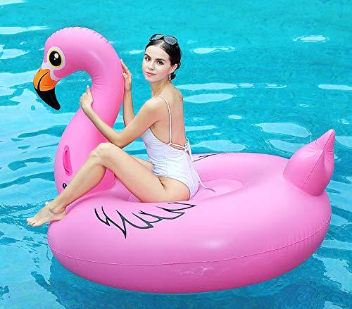 Global Tronics Aufblasbare Flamingo Riese 170cm, Whirlpool Pool Spielzeuge Schwimmen Sommer Sofa Luftmatratze Strand Schwimmring Party Floß Floatie Liege Umweltfreundlich Schwebebett