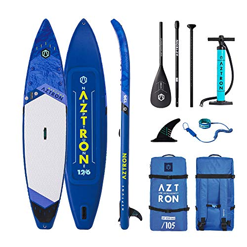 Aztron Neptune 12.6 Double Double SUP Stand up Paddle Board mit Power Carbon 70 Paddel und Leash